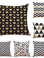 cheap -6 Pcs Linen Pillow Cover Geometric Wave Linen Pillow Case Bedroom Car Pillow Cushion Sofa Pillow Pillow Office Nap Pillow