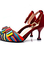 cheap -Women's Heels Summer Pumps Pointed Toe Casual Daily Color Block PU Walking Shoes Black / Red / Blue
