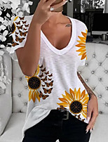 cheap -Women's T-shirt Graphic Tops V Neck Loose Cotton Daily White S M L XL 2XL 3XL 4XL