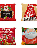 cheap -Set of 4 Merry Christmas Decorative Polyester Pillowcases Christmas Pillow Case Cover Santa Claus Elk Pillowcase