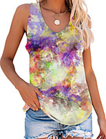 cheap -Women's T-shirt Tie Dye Tops V Neck Loose Daily Summer Purple Yellow Fuchsia S M L XL 2XL 3XL