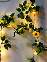 cheap -2M 20LEDs Artificial Sunflower Lvy Vine Leaf LED String Lights Battery Operated For Home Wedding Party Bedroom Decor Lamp DIY Hanging Lighting Without Battery