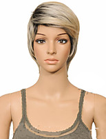cheap -Synthetic Wig Straight Layered Haircut Wig Short Black / Blonde Synthetic Hair 10 inch Women's Women Synthetic Sexy Lady Mixed Color hairjoy