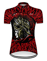 cheap -21Grams Women's Short Sleeve Cycling Jersey Nylon Polyester Black / Red Patchwork Skull Funny Bike Jersey Top Mountain Bike MTB Road Bike Cycling Breathable Quick Dry Ultraviolet Resistant Sports