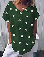 cheap -Women's T-shirt Floral Tops V Neck Daily Summer Green S M L XL 2XL 3XL 4XL 5XL