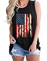 cheap -Women's Blouse National Flag Tops Round Neck Daily Summer Black S M L XL 2XL