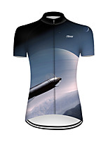 cheap -21Grams Women's Short Sleeve Cycling Jersey Nylon Polyester Blue / White 3D Gradient Rocket Bike Jersey Top Mountain Bike MTB Road Bike Cycling Breathable Quick Dry Ultraviolet Resistant Sports