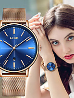 cheap -LIGE Women's Quartz Watches Casual Elegant Stainless Steel Quartz Golden+Black White+Gold Black Water Resistant / Waterproof Adorable Analog