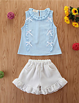 cheap -Toddler Girls' Basic Casual Solid Colored Sleeveless Regular Regular Clothing Set Blue