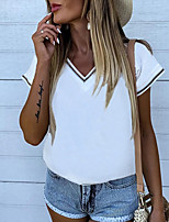 cheap -Women's T-shirt Graphic Tops V Neck Daily Summer Light Brown White Blue S M L XL