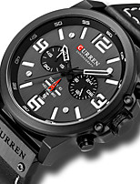 cheap -CURREN Men's Sport Watch Military Watch Quartz PU Leather Black / Red / Brown Water Resistant / Waterproof Altimeter Calendar / date / day Analog Luxury Classic Vintage - Black Blue Red / Chronograph