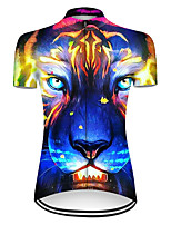 cheap -21Grams Women's Short Sleeve Cycling Jersey Nylon Polyester Blue+Yellow Gradient Animal Tiger Bike Jersey Top Mountain Bike MTB Road Bike Cycling Breathable Quick Dry Ultraviolet Resistant Sports