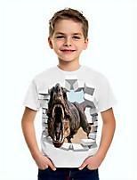 cheap -Kids Boys' Basic Dinosaur Animal Print Short Sleeve Tee White