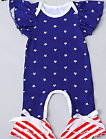 cheap -Baby Girls' Basic Flag Short Sleeves Romper Navy Blue