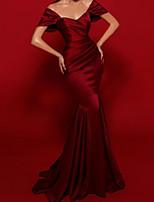 cheap -Mermaid / Trumpet Elegant Vintage Engagement Formal Evening Dress Scoop Neck Short Sleeve Sweep / Brush Train Satin with Sleek 2020