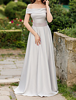 cheap -A-Line Elegant Minimalist Engagement Formal Evening Dress Off Shoulder Short Sleeve Sweep / Brush Train Satin with Sash / Ribbon 2020