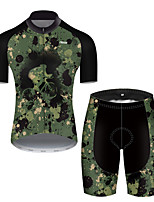 cheap -21Grams Men's Short Sleeve Cycling Jersey with Shorts Nylon Polyester Camouflage Polka Dot Camo / Camouflage Funny Bike Clothing Suit Breathable 3D Pad Quick Dry Ultraviolet Resistant Reflective