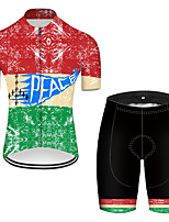 cheap -21Grams Men's Short Sleeve Cycling Jersey with Shorts Nylon Polyester Red / Yellow Patchwork Peace & Love Bike Clothing Suit Breathable 3D Pad Quick Dry Ultraviolet Resistant Reflective Strips Sports
