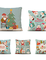 cheap -Set of 5 Christmas Pillow Covers Cotton Linen Santa Tree Reindeer Holiday Christmas Decoration