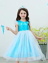 cheap -Elsa Dress Flower Girl Dress Girls' Movie Cosplay Blue Dress Polyester