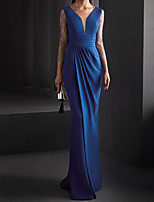 cheap -Mermaid / Trumpet Elegant Minimalist Engagement Formal Evening Dress V Neck 3/4 Length Sleeve Floor Length Spandex Lace with Sleek Pleats 2020 / Illusion Sleeve