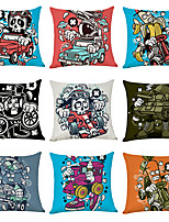 cheap -9 pcs Linen Pillow Cover, Cartoon Ghost Character Casual Modern Square Traditional Classic
