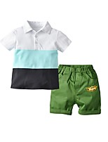 cheap -Kids Boys' Basic Color Block Short Sleeve Clothing Set Green