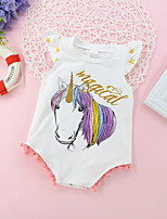 cheap -Baby Girls' Active Basic Unicorn Print Print Sleeveless Bodysuit White