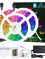 cheap -ZDM® 3x5M Light Sets RGB Strip Lights 450 LEDs 5050 SMD 10mm 1 12V 6A Adapter 1 24Keys Remote Controller 1Set Mounting Bracket 1 set RGB Christmas New Year's APP Control Cuttable Party 12 V