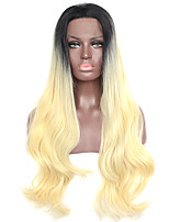 cheap -Light Yellow With Black Root Synthetic Lace Front Wig  High Quality Heat Resistant Fiber Daily Wearing For Women