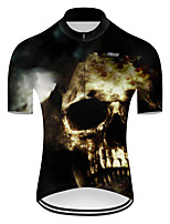 cheap -21Grams Men's Short Sleeve Cycling Jersey Nylon Polyester Black / White Patchwork Skull Funny Bike Jersey Top Mountain Bike MTB Road Bike Cycling Breathable Quick Dry Ultraviolet Resistant Sports