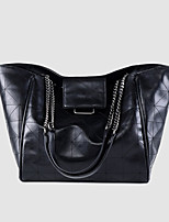 cheap -Women's Chain PU Leather / Polyester Top Handle Bag Leather Bags Solid Color Black / Fall & Winter