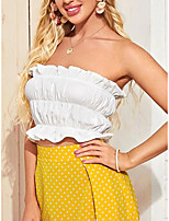 cheap -Women's Blouse Solid Colored Tops - Ruffle Strapless Daily Summer White S M L XL