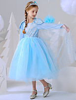 cheap -Princess Elsa Dress Flower Girl Dress Girls' Movie Cosplay A-Line Slip Blue Dress Carnival Children's Day Masquerade Polyester