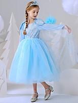 cheap -Princess Elsa Dress Flower Girl Dress Girls' Movie Cosplay A-Line Slip Blue Dress Carnival Children's Day Masquerade Polyester