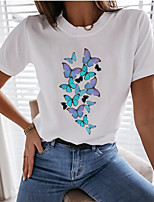 cheap -Women's T-shirt Graphic Tops - Print Round Neck Loose Cotton Basic Daily Summer White XS S M L XL 2XL