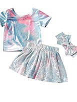 cheap -Toddler Girls' Basic Print Short Sleeve Clothing Set Rainbow