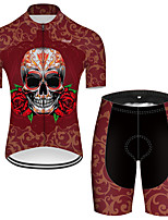 cheap -21Grams Men's Short Sleeve Cycling Jersey with Shorts Nylon Polyester Red Novelty Skull Floral Botanical Bike Clothing Suit Breathable 3D Pad Quick Dry Ultraviolet Resistant Reflective Strips Sports