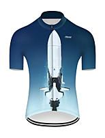 Недорогие -21Grams Муж. С короткими рукавами Велокофты Нейлон Полиэстер Синий / белый 3D Градиент ракета Велоспорт Джерси Верхняя часть Горные велосипеды Шоссейные велосипеды / Слабоэластичная / Дышащий