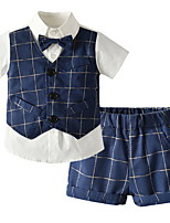 cheap -Kids Toddler Boys' Basic Check Short Sleeve Clothing Set Dusty Blue