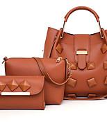 cheap -Women's Zipper PU Leather Bag Set Bag Sets Solid Color Wine / Black / Blue