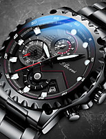 cheap -Men's Mechanical Watch Automatic self-winding Modern Style Sporty Stainless Steel Water Resistant / Waterproof Calendar / date / day Noctilucent Analog Steampunk Cool - White+Blue White Black