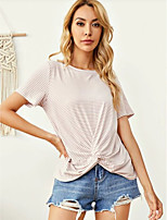 cheap -Women's Blouse Striped Tops - Knotted Round Neck Basic Daily Summer Dusty Rose XS S M L