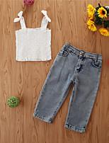 cheap -Kids Girls' Basic Casual Solid Colored Sleeveless Regular Regular Clothing Set White