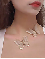 cheap -Women's Choker Necklace Necklace Butterfly Dainty Trendy Romantic Fashion Fabric Champagne 30 cm Necklace Jewelry For Prom Street Birthday Party Festival