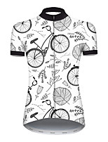 cheap -21Grams Women's Short Sleeve Cycling Jersey Nylon Polyester Gray+White Leaf Floral Botanical Bike Jersey Top Mountain Bike MTB Road Bike Cycling Breathable Quick Dry Ultraviolet Resistant Sports