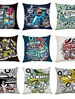 cheap -9 pcs Linen Pillow Cover, Car Casual Modern Square Traditional Classic