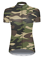 cheap -21Grams Women's Short Sleeve Cycling Jersey Nylon Polyester Camouflage Patchwork Camo / Camouflage Bike Jersey Top Mountain Bike MTB Road Bike Cycling Breathable Quick Dry Ultraviolet Resistant Sports