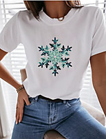 cheap -Women's T-shirt Graphic Prints Tops Round Neck Basic Daily Summer White XS S M L XL 2XL