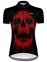 cheap -21Grams Women's Short Sleeve Cycling Jersey Nylon Polyester Black / Red Novelty Skull Floral Botanical Bike Jersey Top Mountain Bike MTB Road Bike Cycling Breathable Quick Dry Ultraviolet Resistant